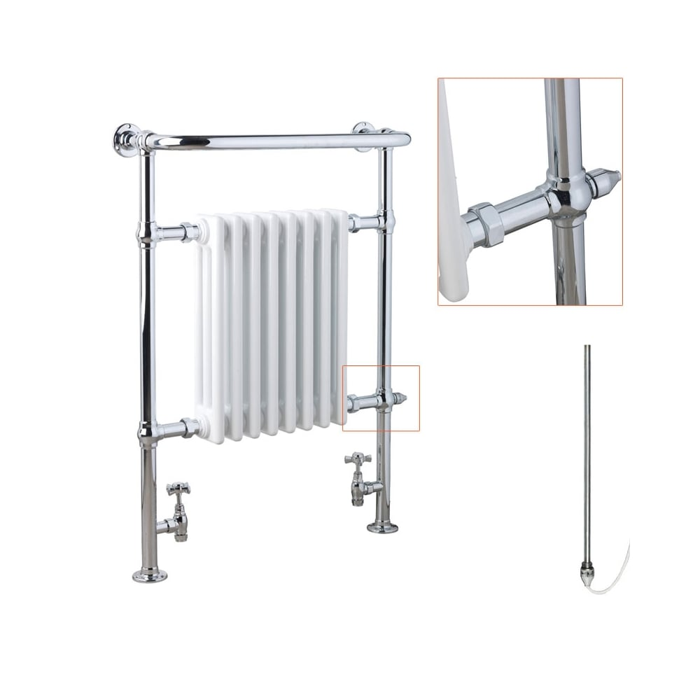 Traditional victorian electric heated towel rail radiator for bathroom for Electric heated towel rails for bathrooms
